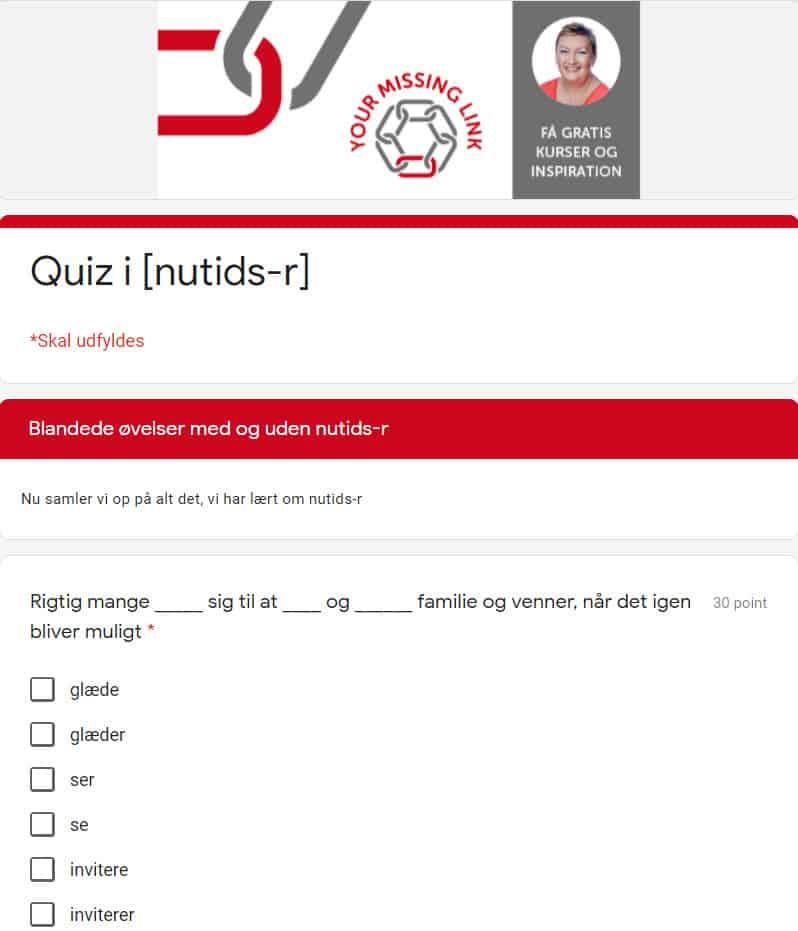 Quiz nutids-r | Your Missing Link