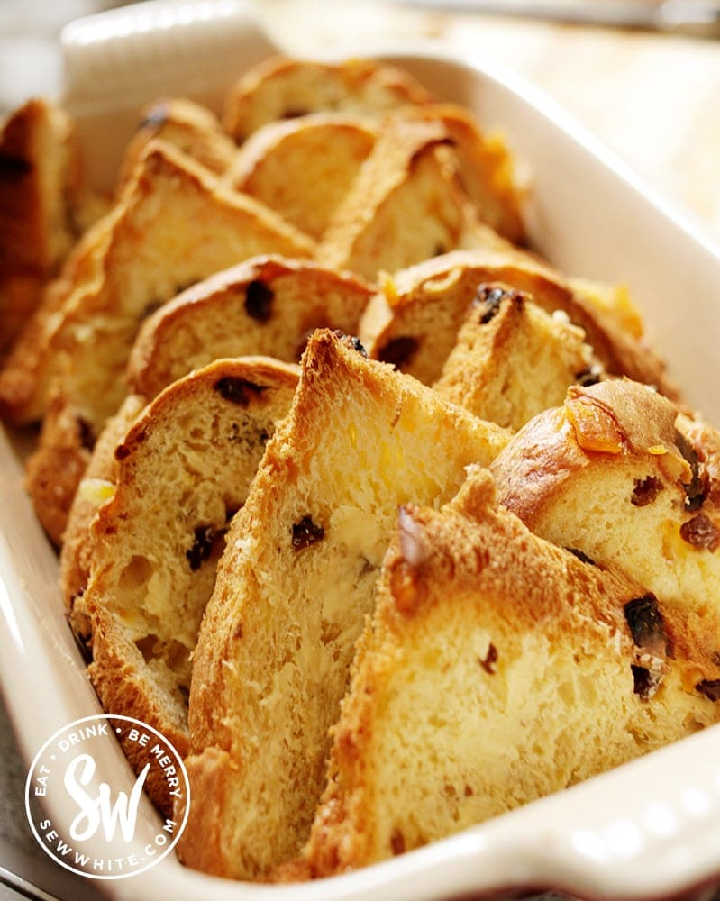 Panettone slices in an oven proof dish.
