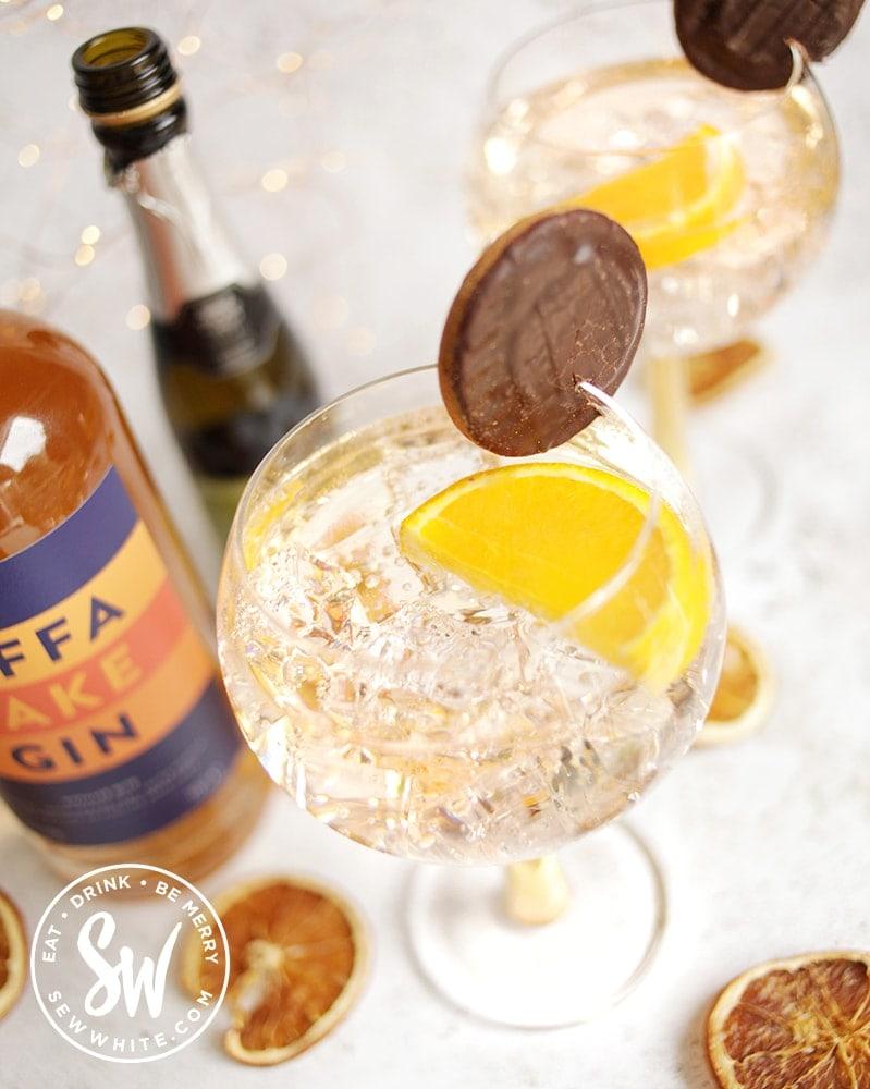 view of orange Jaffa Cake Gin Spritz to make a delicious chocolate orange cocktail