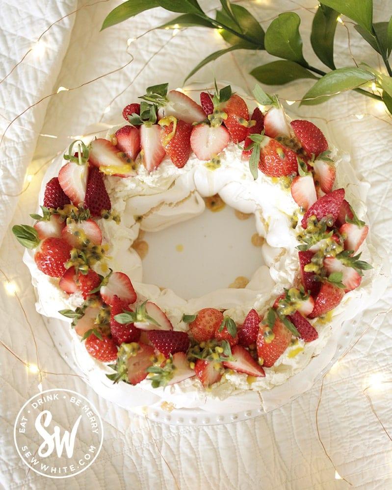 Strawberry Passionfruit Pavlova wreath