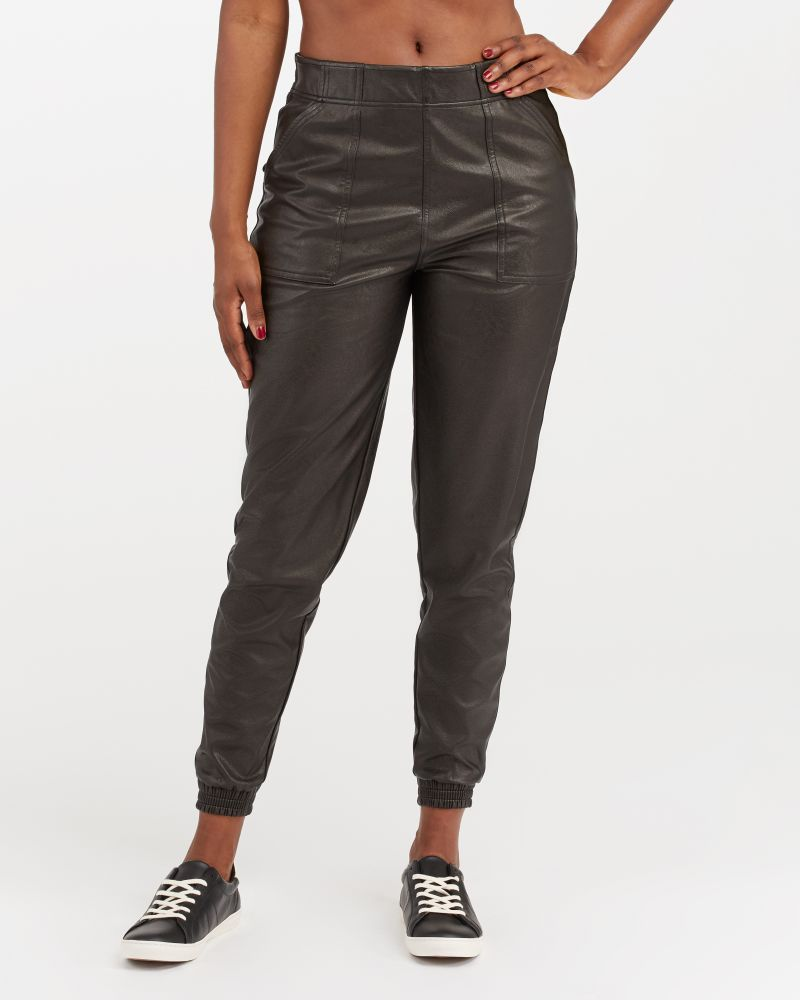 Spanx Leather-Like Jogger - Are Spanx leggings see through? My honest review on Spanx leggings and pants and the Spanx leggings for your needs.