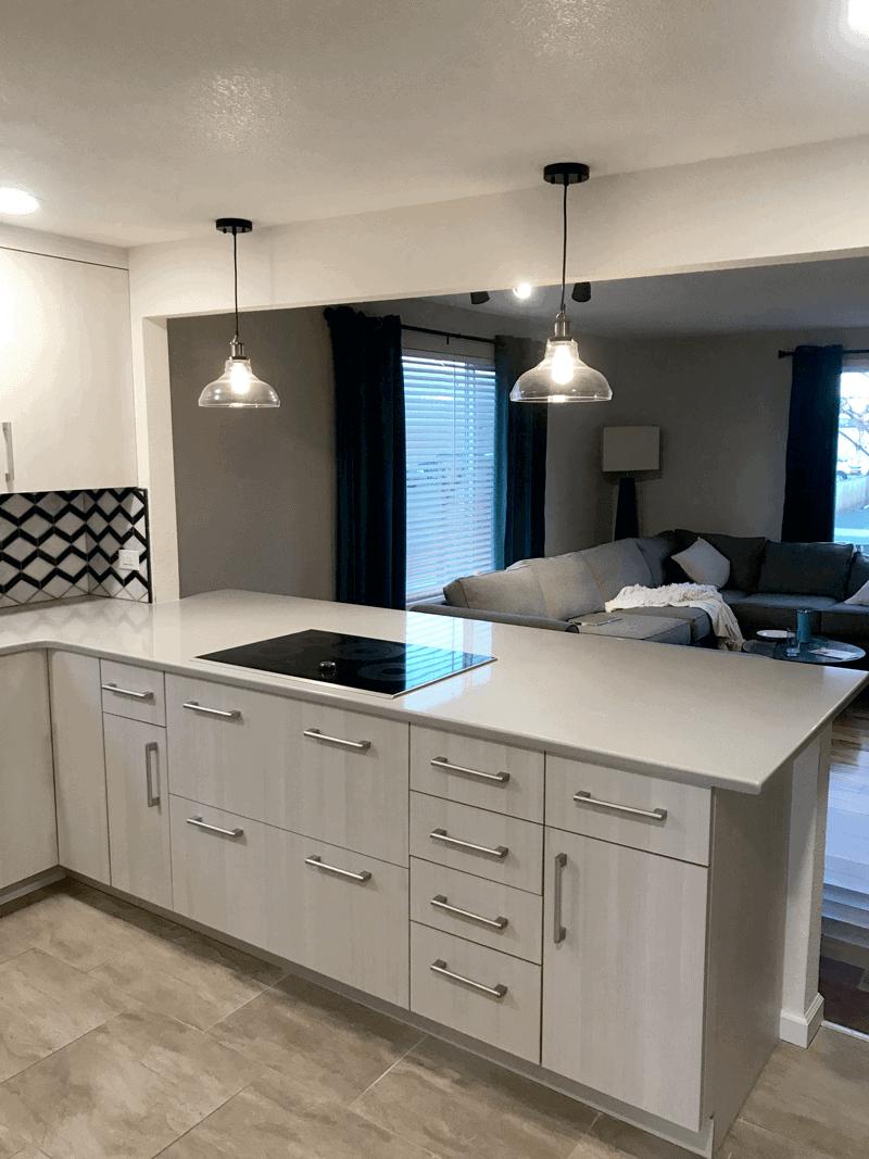 Kitchen Remodel With Black & White Tile Backsplash