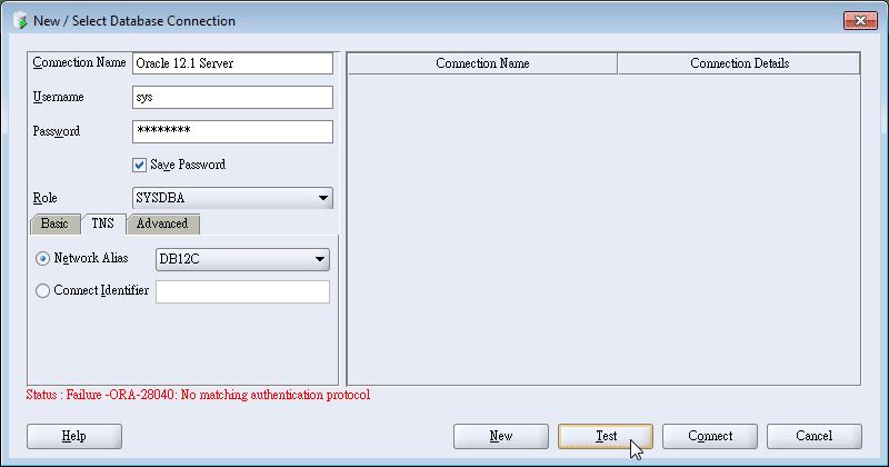 SQL developer - Connection Test Found ORA-28040: No matching authentication protocol