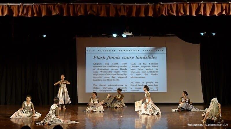 To See or Not to See. 'Flash floods cause landslides. Should we still dance to the beauty of monsoons?' From left to right - Nandita Gowda, Ekshitha Gowda, Laasya VK, Ashlesha Bagadia, Dhanashree BM, Mohita Srinivas, Divyashree KS and Minti Jain. KEA Prabhath Rangamandira Auditorium, Bangalore, February 23, 2019. Image Credit: Madhusoodhan SN.