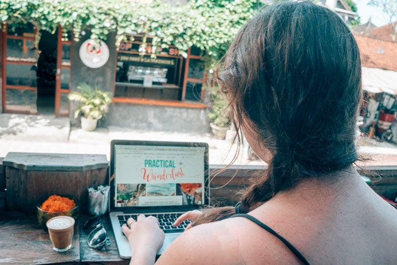 Work and coffee at Seniman Coffee in Ubud, Bali.