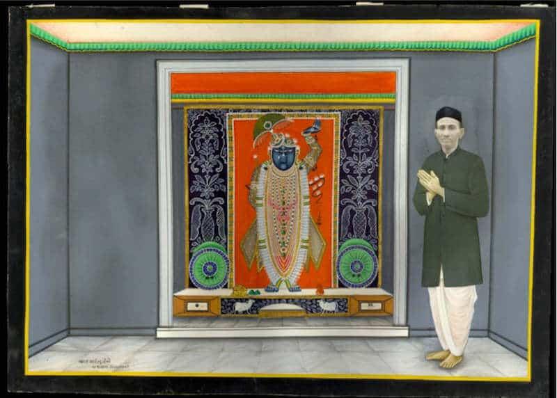 Bharat Art Studio, Portrait of Devotee Worshipping Sri Nathji. Nathdwara, Rajasthan, India, c. 1910.