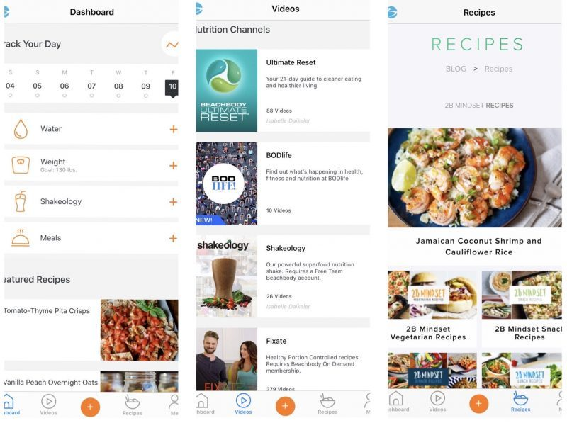 Beacbody Nutrition+ app screenshots