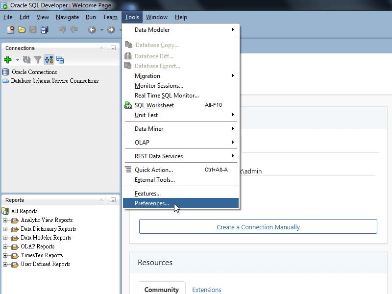 SQL Developer - Preferences