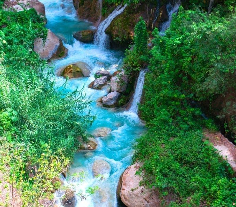 cascadas y aguas azules brillantes en un bosque - Visite Las Grutas Tolantongo