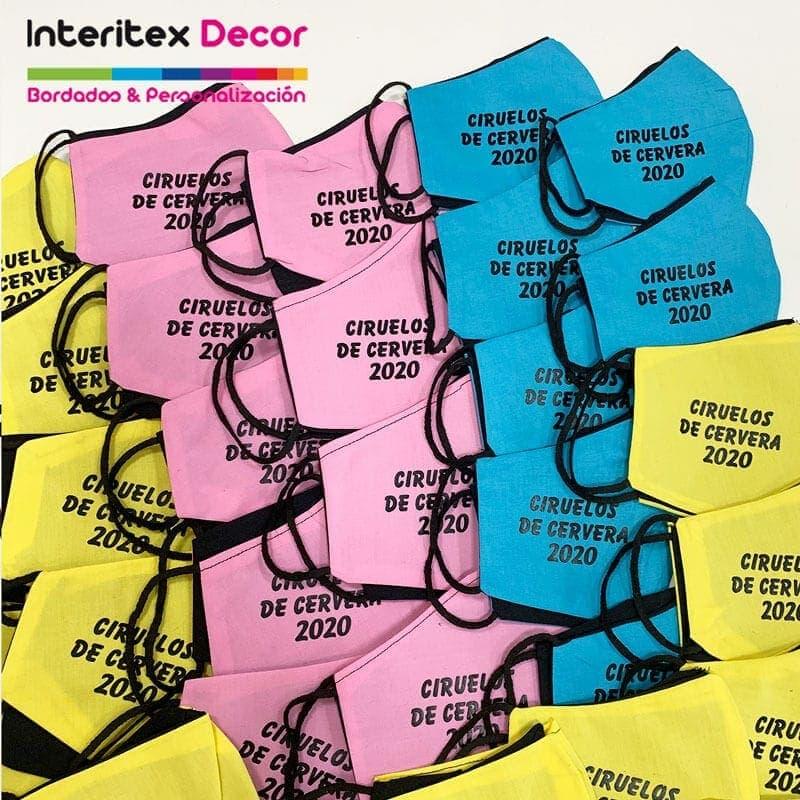 Mascarillas personalizadas vinilo textil eventos
