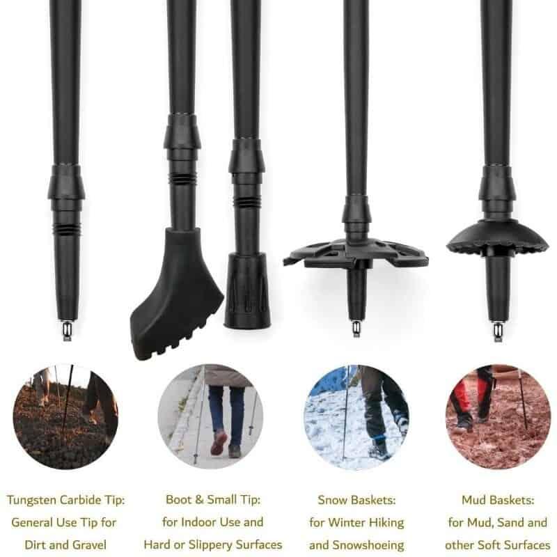 Cascade Mountain tech treking poles' removable tips