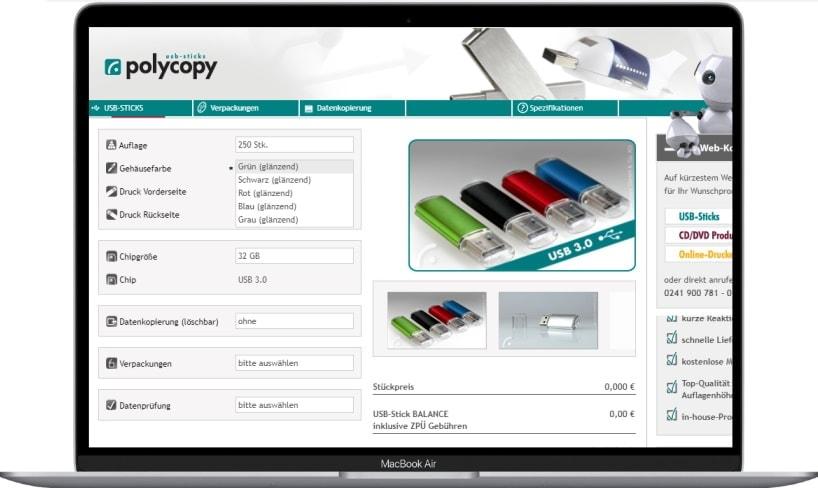 polycopy USB-stick konfigurator