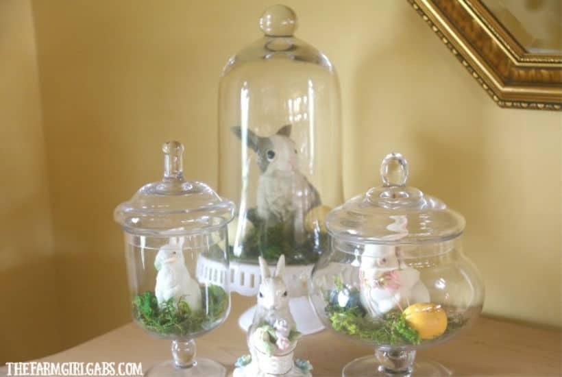 DIY Spring Bunny Jar Display