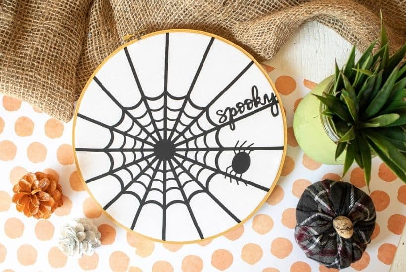 This Spider Web Halloween Hoop Art is the perfect Cricut Halloween craft to try at home while alone or with loved ones. The easy fall craft does not take long to create and will last such a long time.