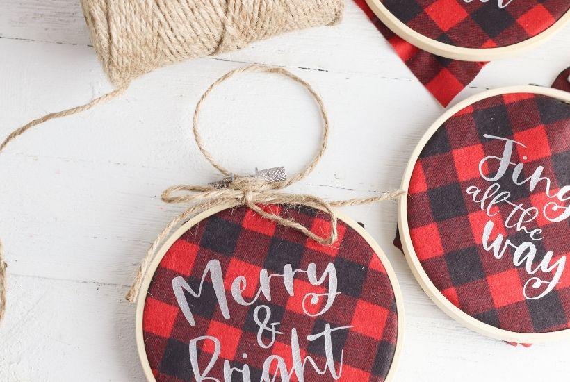 Buffalo Plaid Hoop Ornaments feature 4