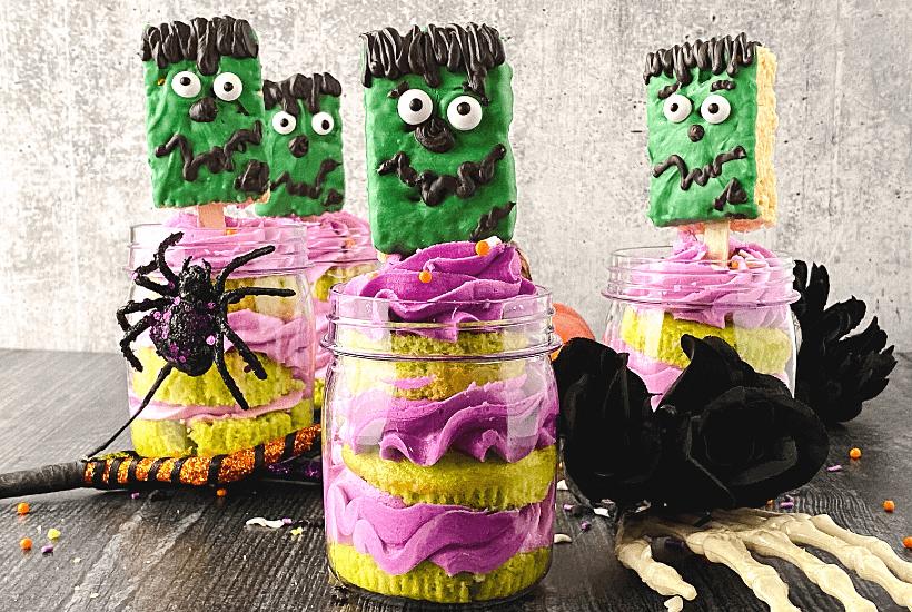 Frankenstein Cupcakes In A Jar For Halloween