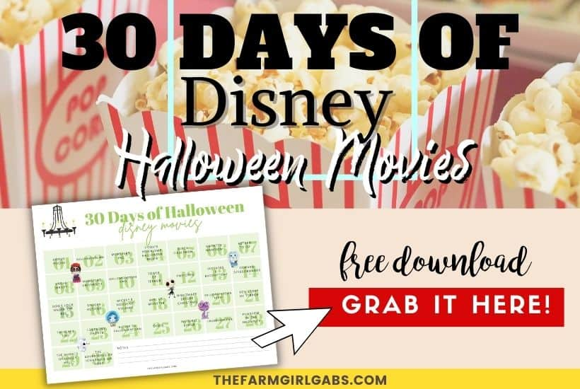30 Days of Disney Halloween Movies Free Printable