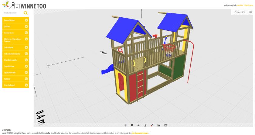 Online-Planer Farbpalette 3D-Spielgeräte WINNETOO - ObjectCode GmbH