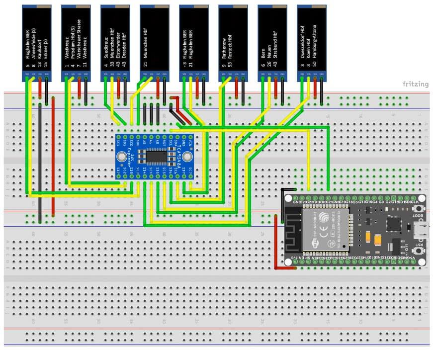 RailFX Zugzielanzeiger ESP32 Arduino Schaltplan Schaltbild Schaltung