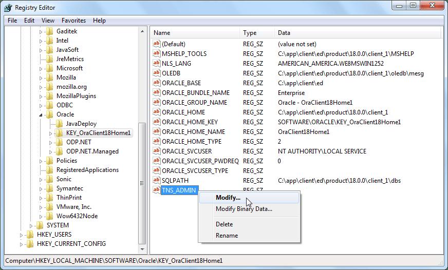 Oracle Software Registry - Modify TNS_ADMIN