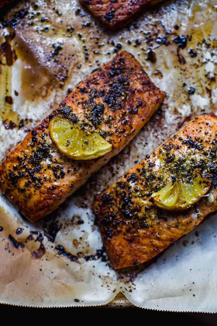 roasted salmon with Za'atar and sumac