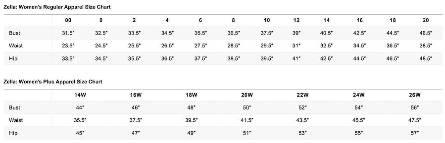 Nordstrom Zella Size Chart