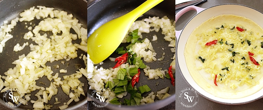In a saucepan gently soften the onion before adding the garlic, chilli and basil. Once cool add to the puff pastry base.