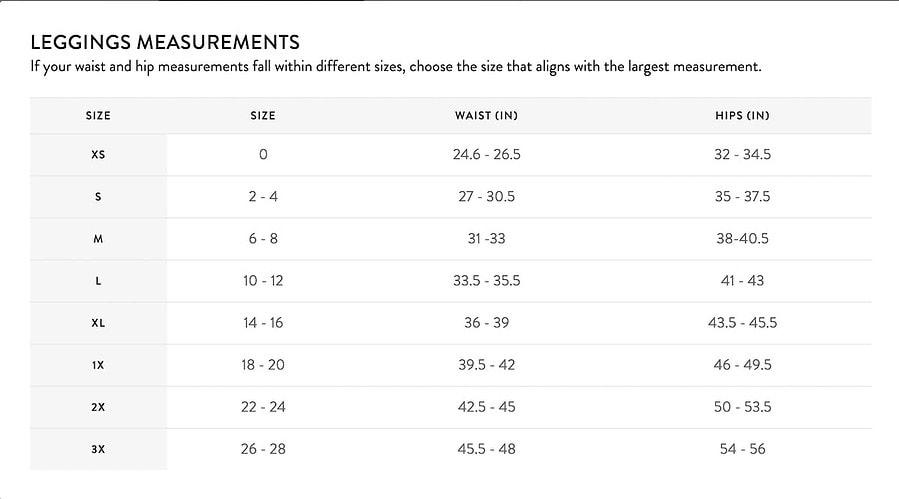 Spanx Leggings Size Guide