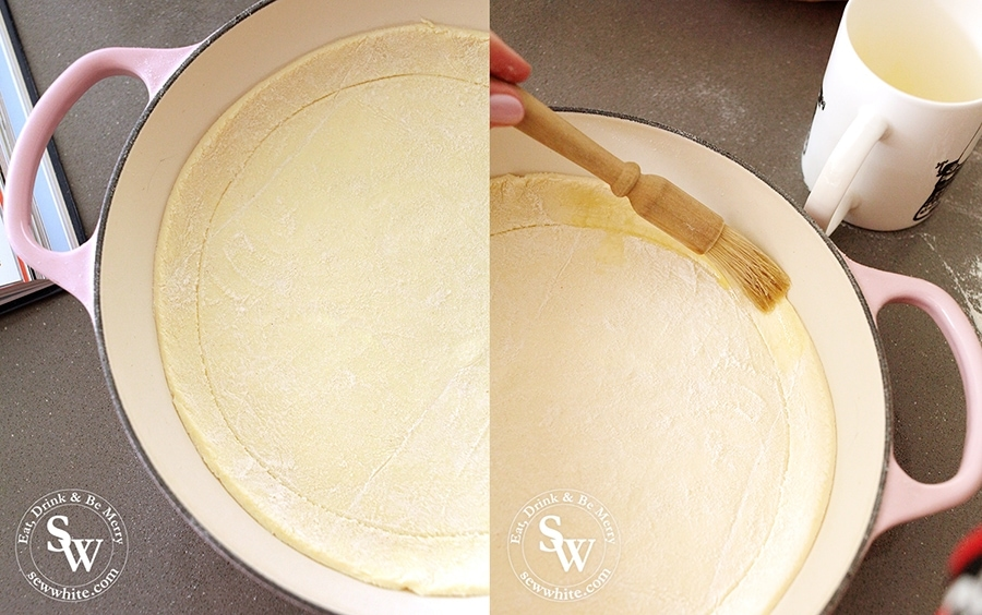 Making the puff pastry boarder for the Puff Pastry Tomato Tart, brushing it with melted butter.