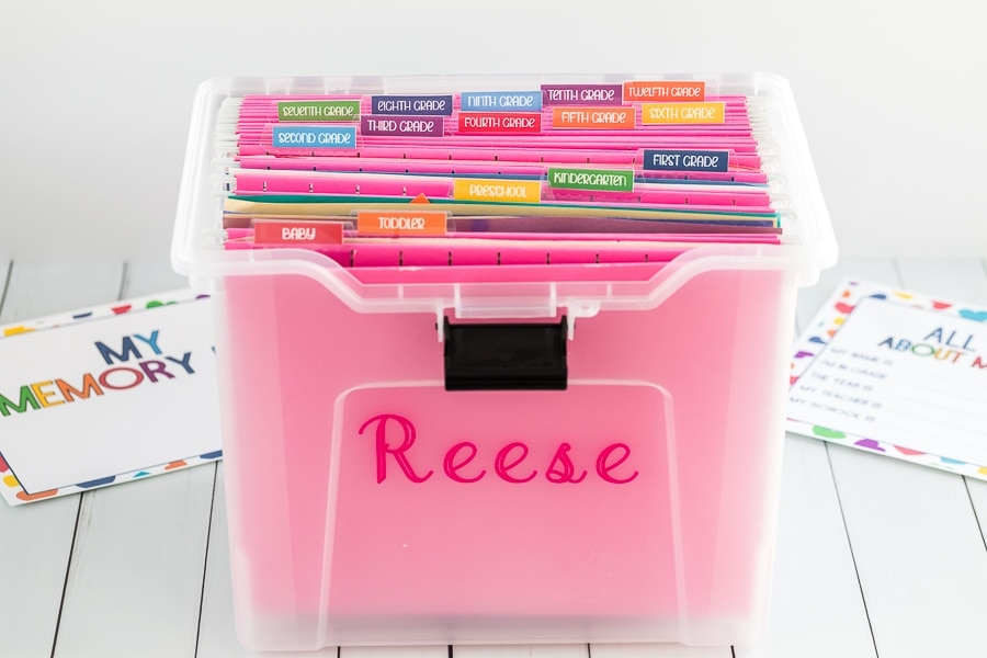 Pink Memory Box for Schoolwork