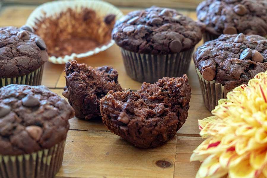 gluten free chocolate chip zucchini muffin