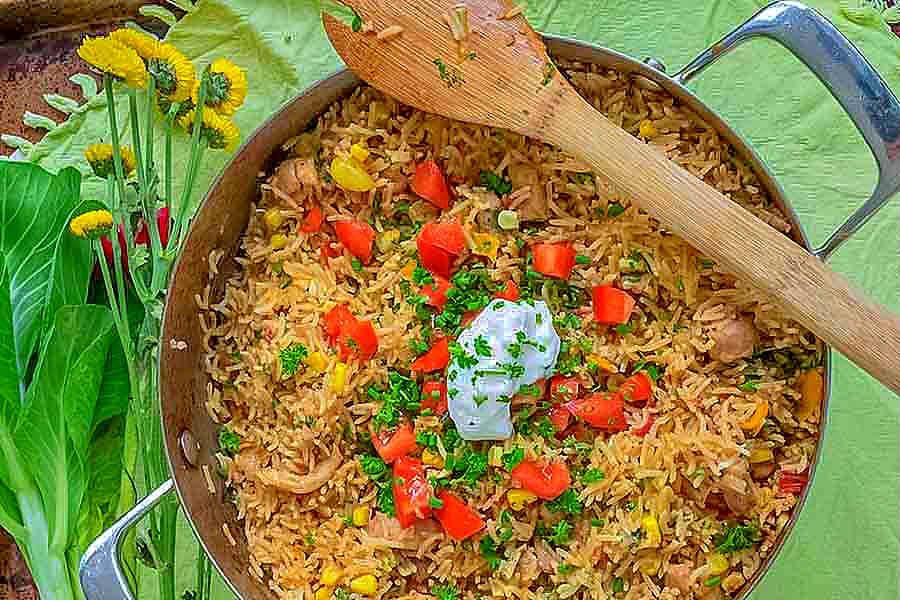taco rice chicken dinner