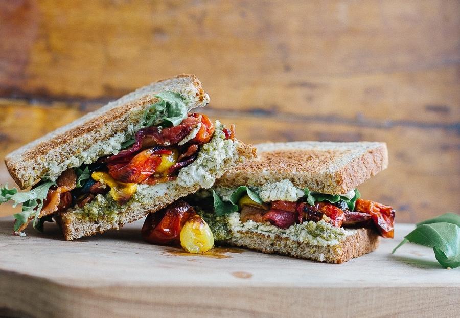 Roasted Tomato Pesto Goat Cheese BLT sandwich