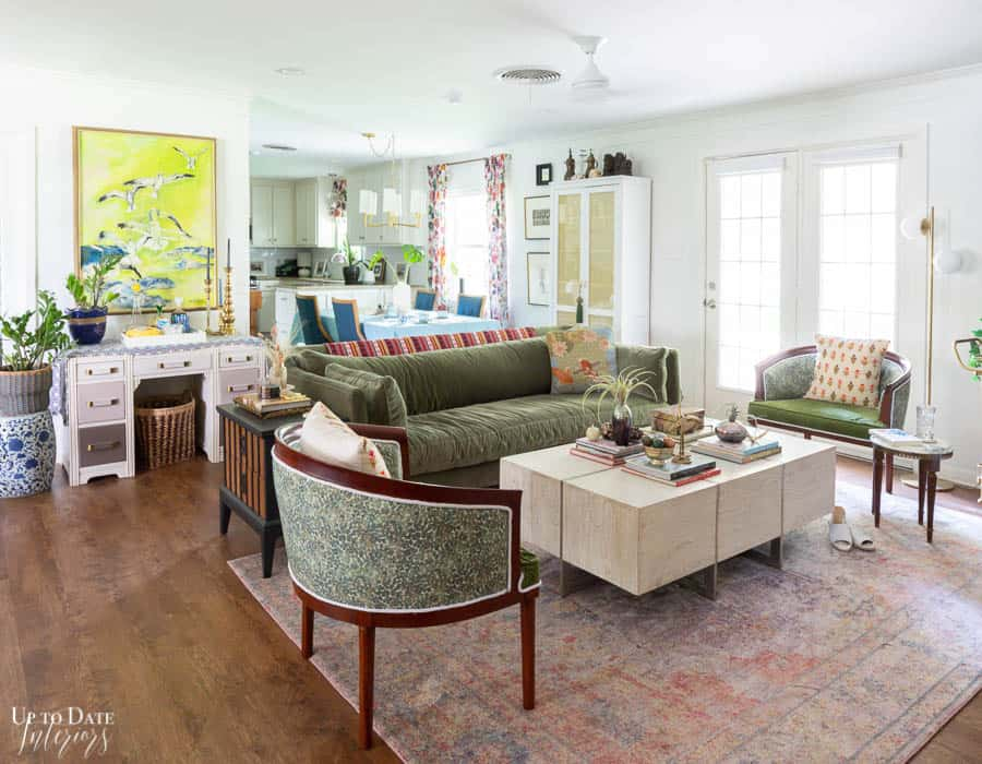 open concept living and dining areas