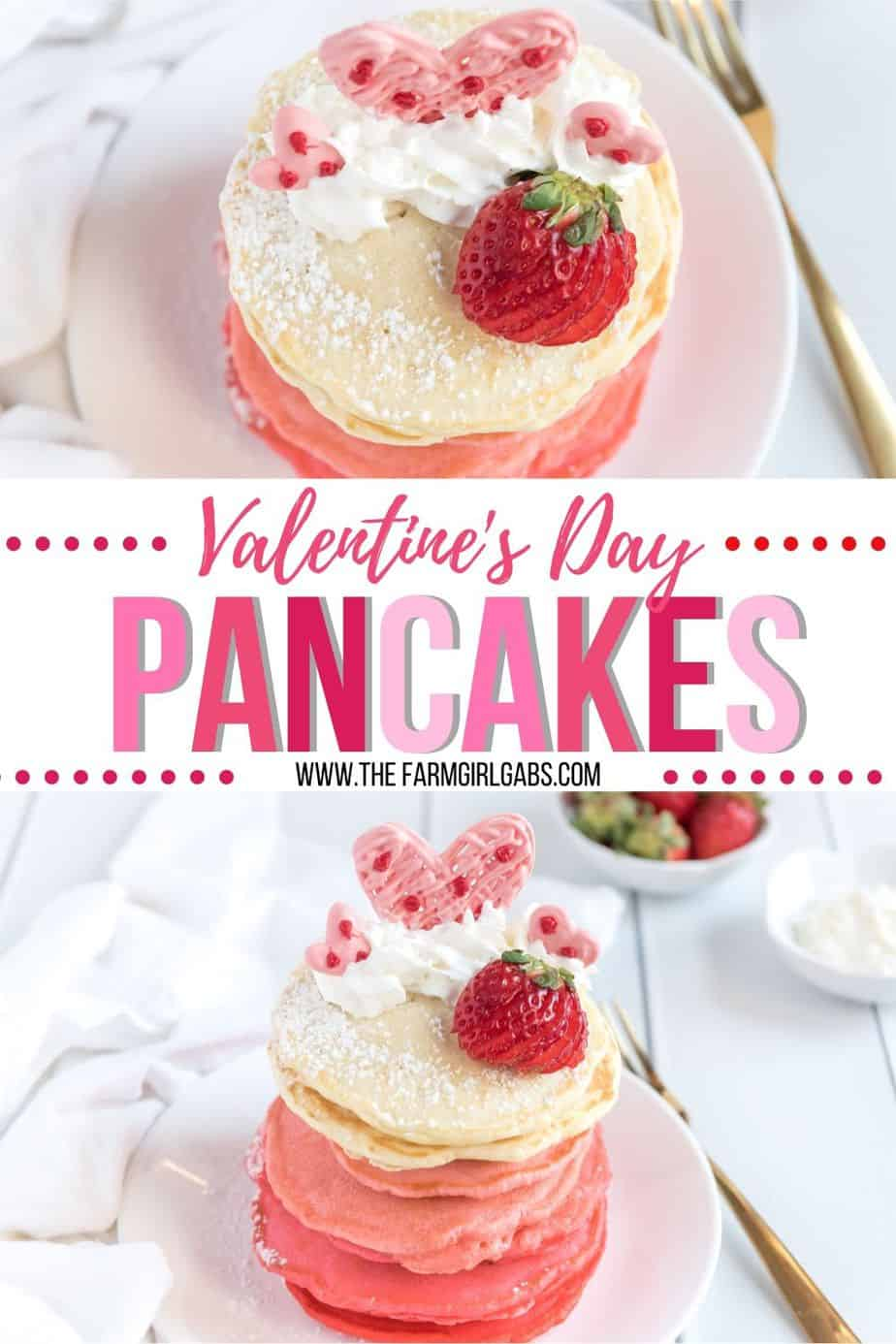 These Pink Ombre Pancakes are the perfect homemade Valentine's Day Pancake Recipe. Your family will love these light and fluffy pancakes. Share some love and make easy pancake recipe can be served all year long. #valentinesdaypancakes #ombrepancakes