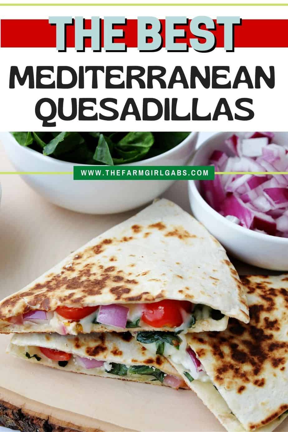 Use this Mediterranean Quesadillas recipe to prepare a cheesy meat-free meal full of fresh vegetables. These quesadillas are perfect to eat for breakfast, lunch, or dinner! This easy quesadilla recipe is a delicious meatless meal idea. It's a perfect sandwich recipe for lunch or dinner.