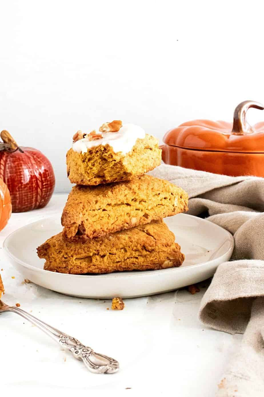 Pumpkin season calls for an easy fall baking recipe. Prepare the perfect fall-flavored Pumpkin Brown Butter Scones using simple, fresh, and flavorful ingredients. These scones are an excellent baked treat to eat for breakfast with coffee or tea. These scones are the perfect fall treat - Super flaky and perfectly spiced. Try this delicious recipe for classic pumpkin scones!