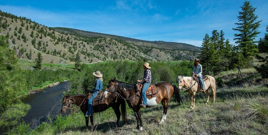 watching river on horseback
