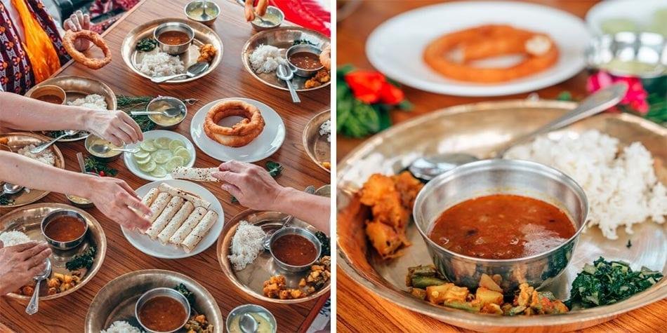 Sharing sel roti, kathi rolls and enjoying Nepalese food
