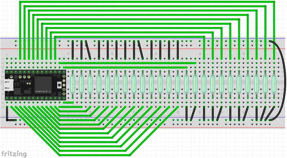Schaltplan Alea64 MIDI-Controller Teensy