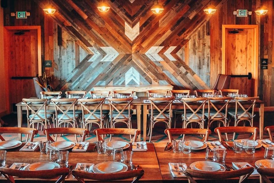 Wood art in a dining room at Rush Creek Lodge near Yosemite National Park