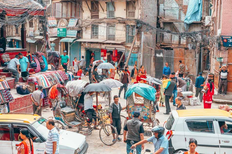 The chaotic streets of Kathmandu, Nepal.