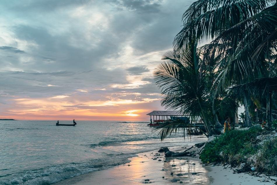 San Blas Islands Panama Boat at Sunset