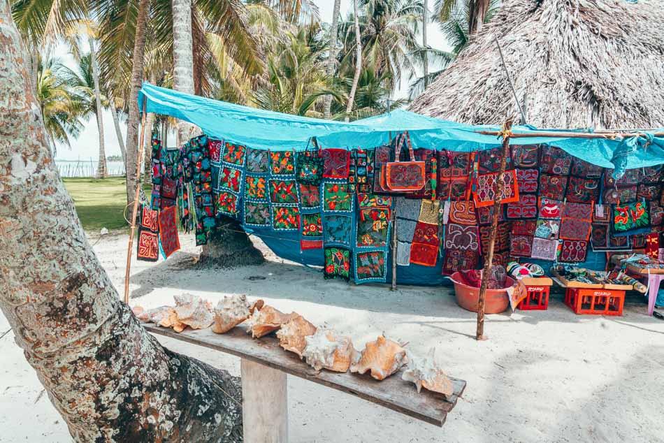 Mola textile art for sale in the San Blas Islands, aka Guna Yala, Panama.