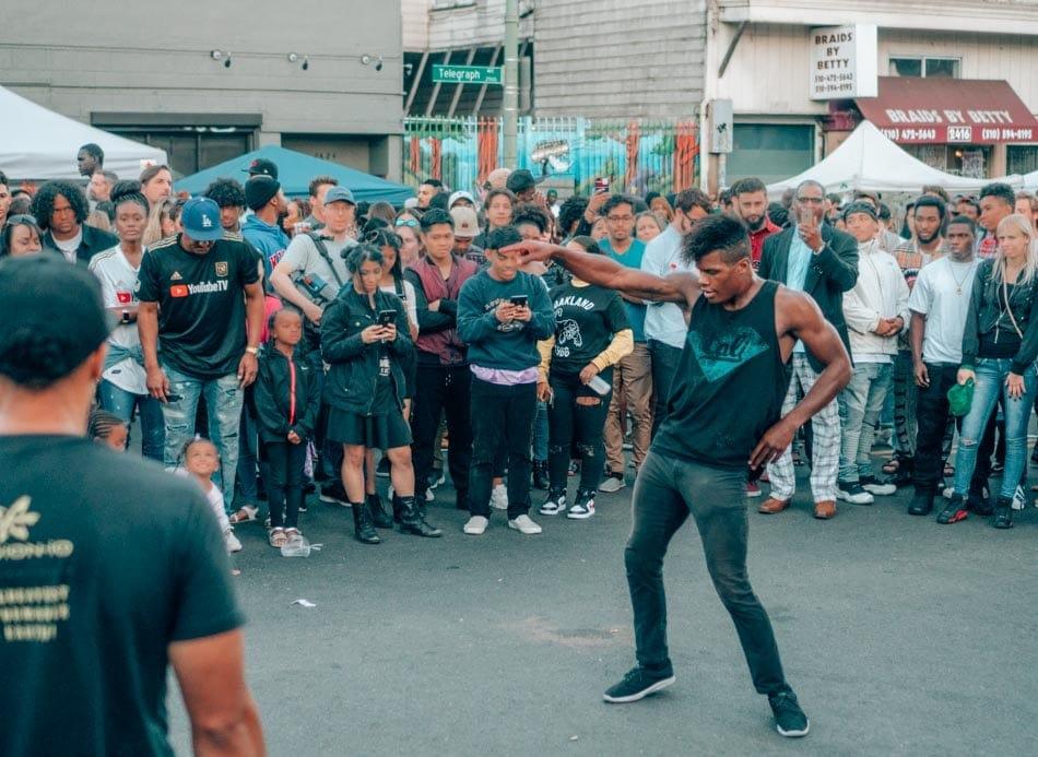 Street dancers at Oakland's First Fridays.