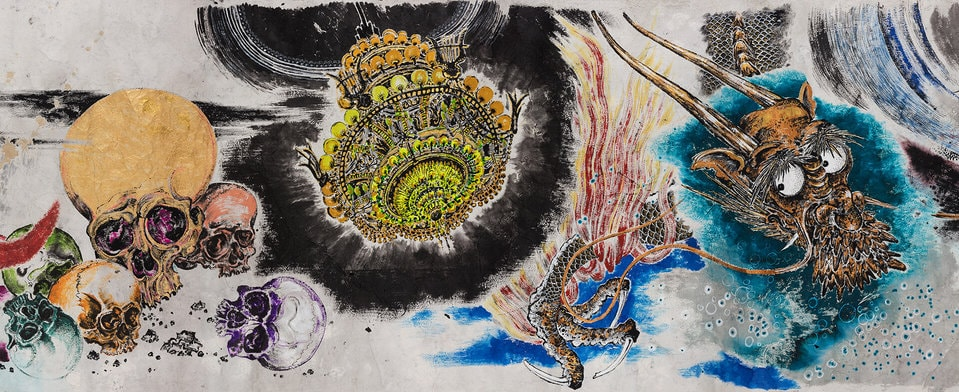Sun Xun, Mythology or Rebellious Bone, 2020 (detail), ink, gold leaf, natural colour pigment on paper, Courtesy of the Artist and ShanghART Gallery