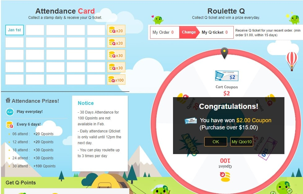 Daily Attendance Card & Roulette Q in Qoo10 Webpage
