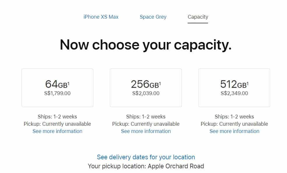 iPhone XS MAX prices capacity