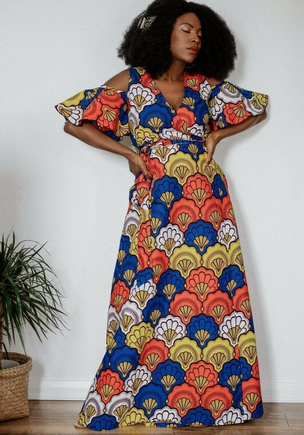 a beautiful multicolor anakar wrap dress