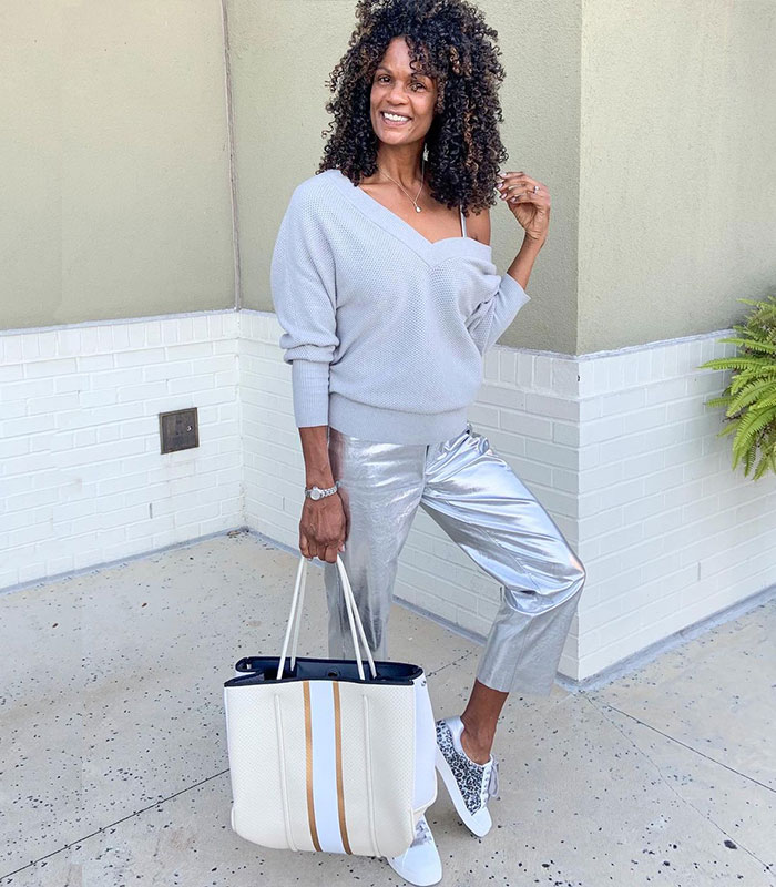 Diane wears gray and silver | 40plusstyle.com